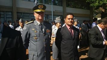 Moisés Lazarine e o Coronel Washington Luís Gonçalves Pestana que comandará o policiamento no interior